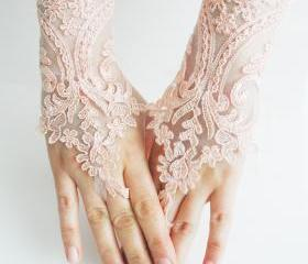 Lace gloves, Soft peach pink Wedding gloves, bridal gloves, fingerless gloves, salmon, pink light, orange gloves