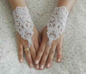 Wedding Gloves, ivory lace gloves, Fingerless Gloves, white wedding gown, off cuffs, cuff wedding bride, bridal gloves,