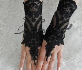 Wedding gloves, bridal gloves, fingerless lace, steampunk, black gloves, victorian, lolita, sexy belly dance