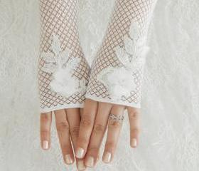 Bridal glove, Wedding glove, Belly Dance, Fetish, Bridal, Lolita, white lace glove, Free ship